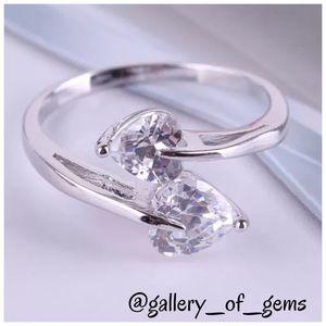 Topaz Heart 18K White Gold Filled Silver Ring!